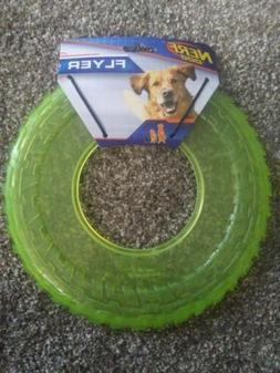 "NERF DOG 10"" ATOMIC GREEN FLYER TIRE TRACK RUBBER FRISBEE LA"
