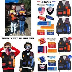 2 Pack Kids Tactical Vest Kit with Waffle Darts Compatible N