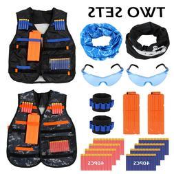 2 Sets Nerf Vest Kids Tactical Foam Darts Mask Glasses Kit F