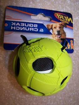 Nerf Dog Crunch & Squeak Soccer Ball Green Black Fun Fetch C