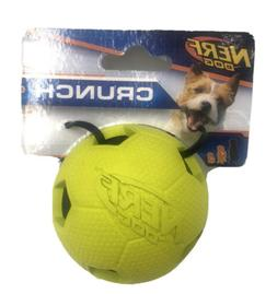 Nerf Dog Crunch Bash Ball Dog Toy, 2.5-in Green Rubber