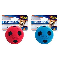 Nerf Dog Crunchable Soccer Ball Squeak Dog Toy, Red/Blue, Sm