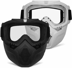 Detachable Face Masks Protective Tactical Mask with Goggles