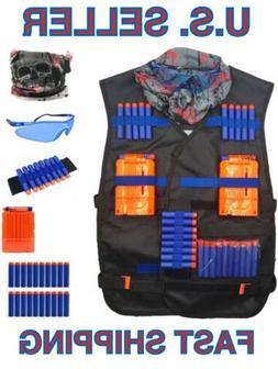 🌟Kids Tactical Nerf Set, 30 Foam Darts, Vest Mask Glasses