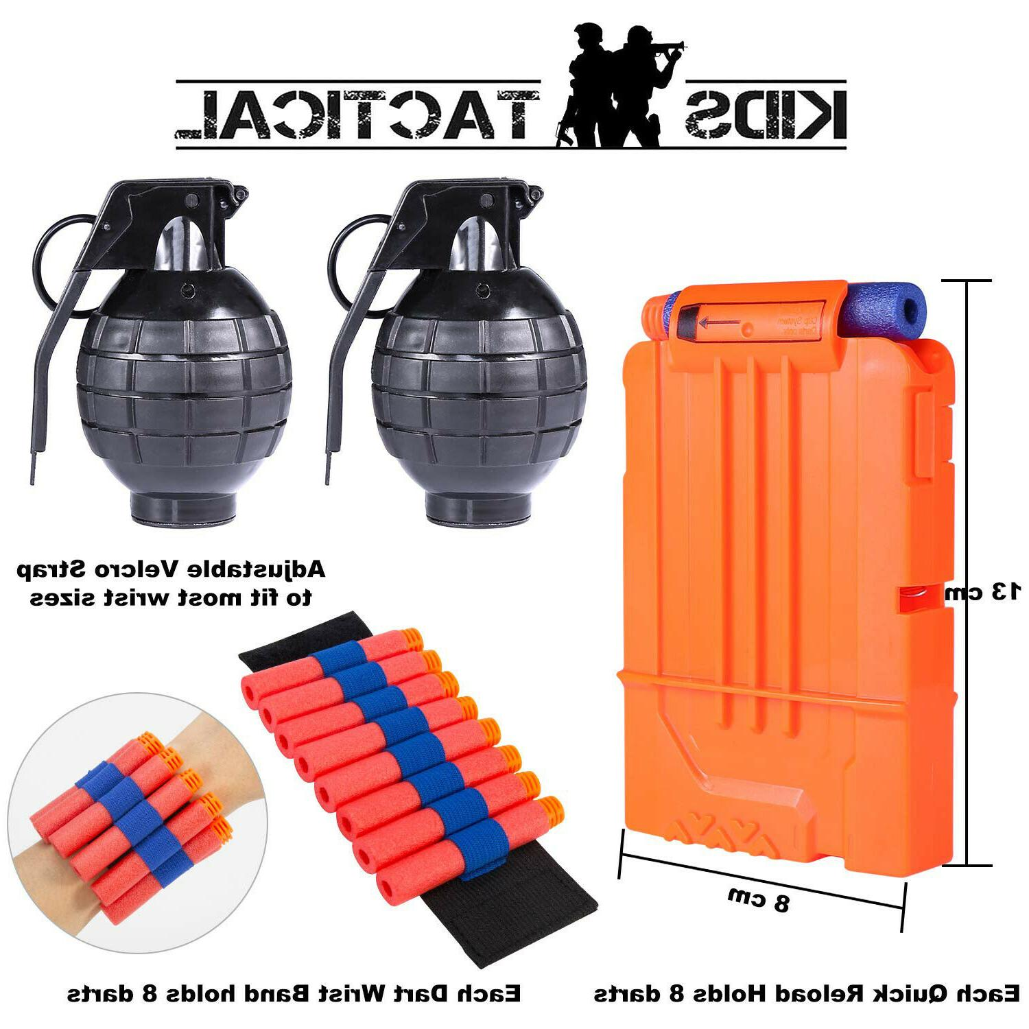 Kids Tactical Vest for Guns Wrist Band, and Grenade