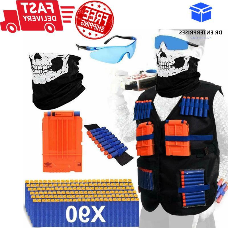 NERF TACTICAL VEST Kit Boys Game Gun Strike 90Foam Darts Mas