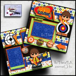 NERF GUNS ~ 2 PREMADE SCRAPBOOK PAGES Paper printed layout T