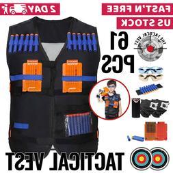 Nerf Vest Kids Tactical Foam Darts Mask Glasses Kit Set For