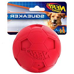 Nerf Dog 4inch Soccer Squeak Ball, Red Dog Toy