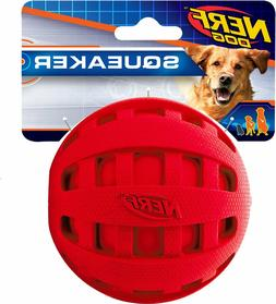 Nerf Dog Squeaker Checker Ball - 4-in Red