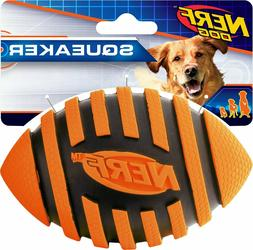 Nerf Dog Squeaker Spiral Football, Orange