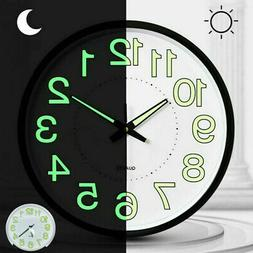 12 Inch Luminous Glow Wall Clock Silent Dark Quartz Classic