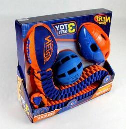 Nerf Dog Toy Set Crunch and Squeak Tuff Tug Ball Football, 3