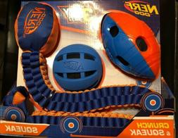 Nerf Dog Toy Set Crunch and Squeak Tuff Tug Ball Football, 3